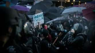 Police clash with protesters in Seattle
