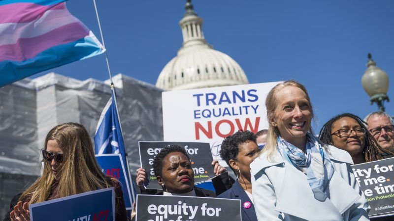 Rep. Mary Gay Scanlon (D-Pa.) and others at a news conference on the Equality Act