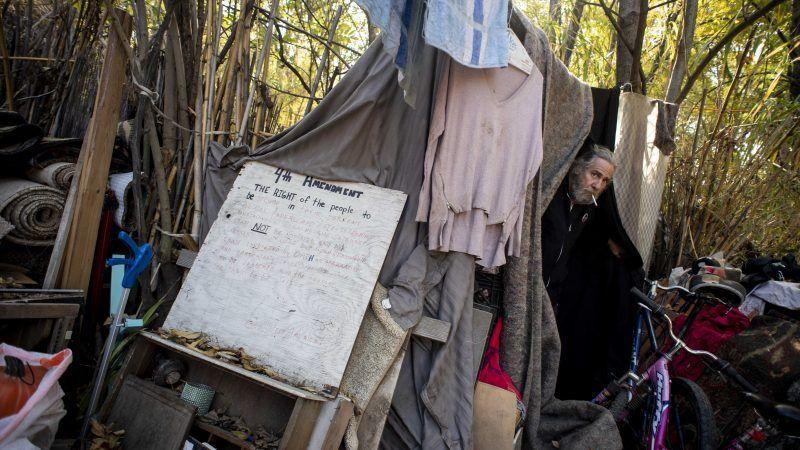 Homeless man in Burbank, California