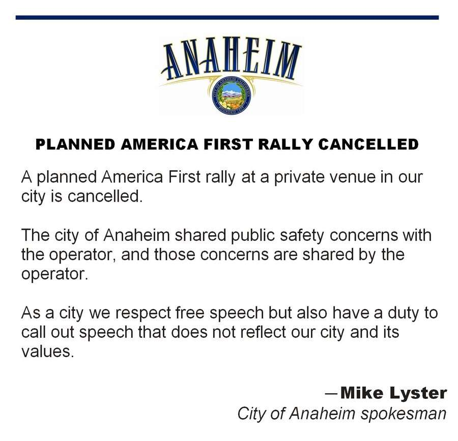 """City Announces Cancellation of """"America First"""" Rally in Private Venue, Affirms Security Threats + """"Values"""" – Reason.com"""