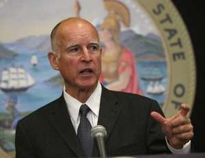 Gov. Jerry Brown indicates how much high-speed rail the state's cap-and-trade auction revenue can pay for