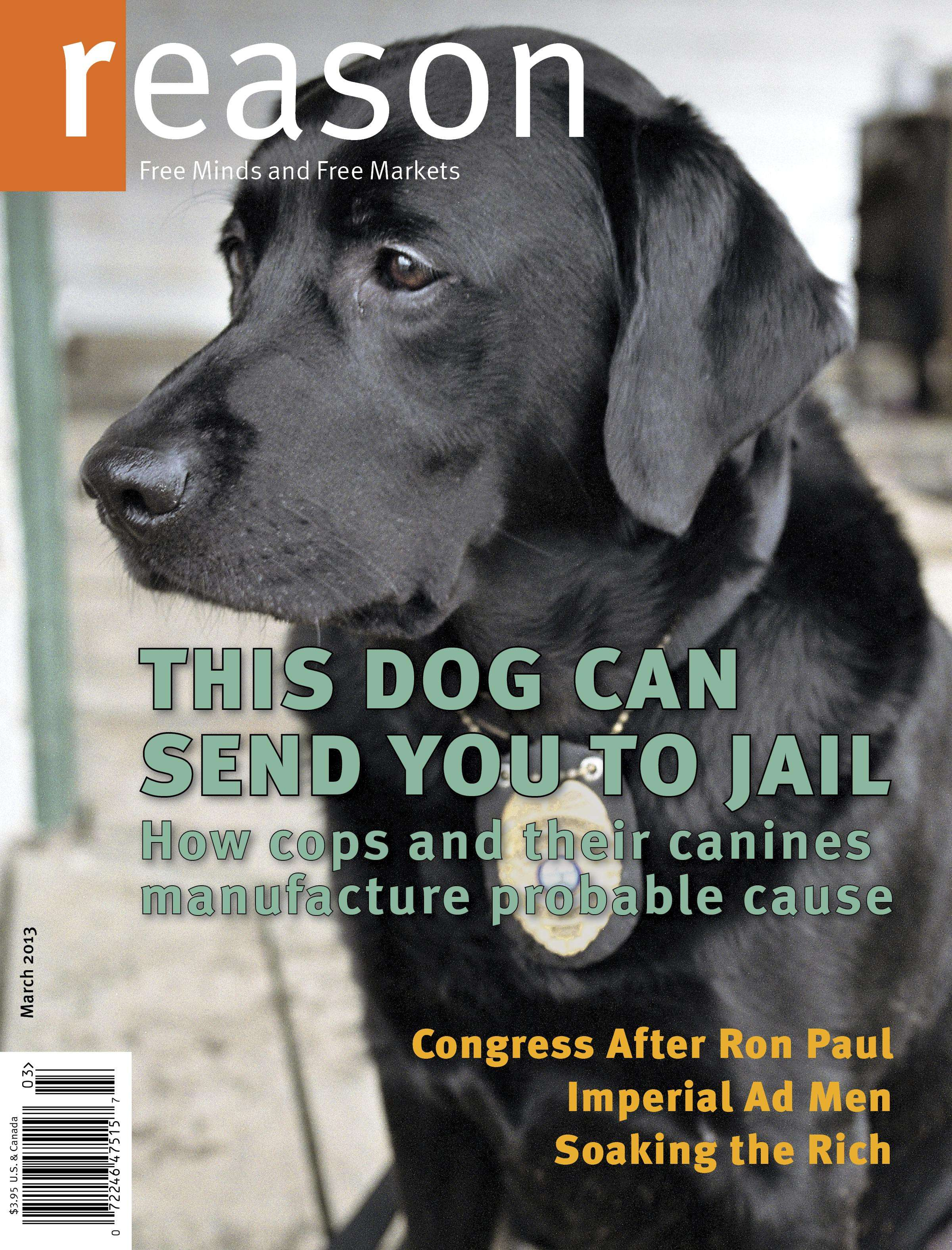 Reason magazine cover of drug sniffing dog