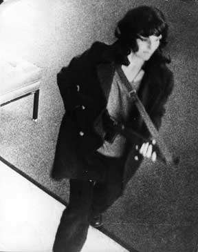 Patty Hearst, during the April 1974 Hibernia bank robbery.