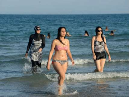Women on the beach in France