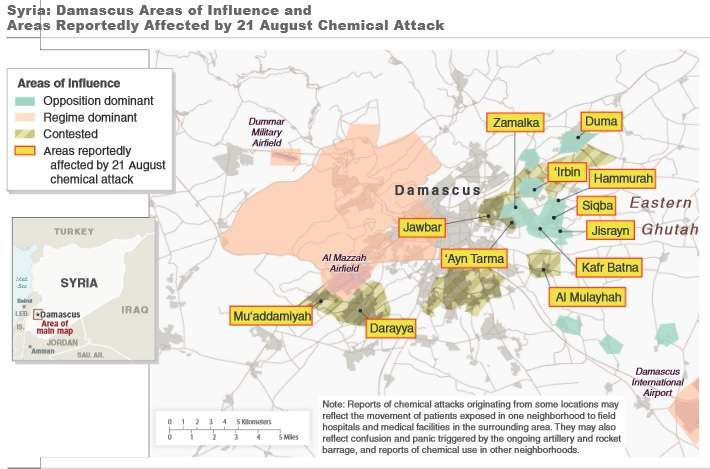 Alleged sites of Syrian chemical weapon use