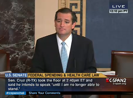 Ted Cruz on Senate floor having a filibuster that isn't technically a filibuster.