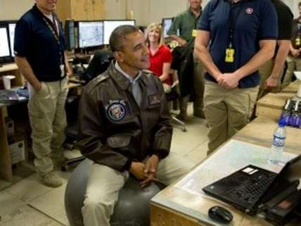 Obama in a flight jacket