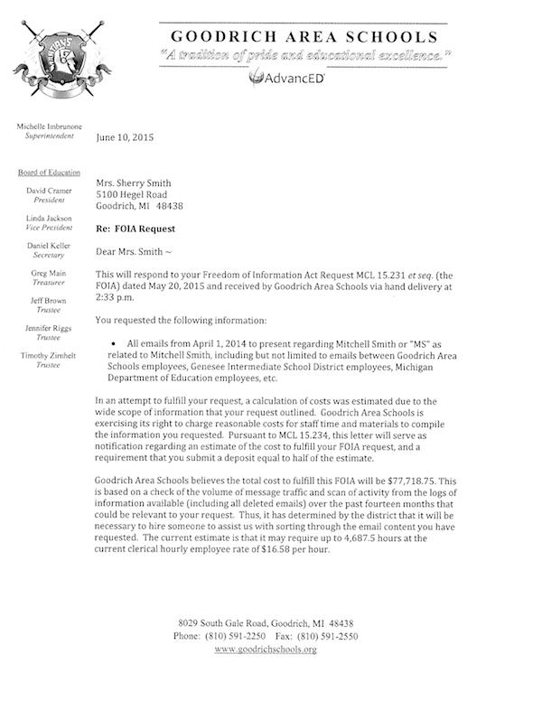FOIA response from Goodrich Area Schools