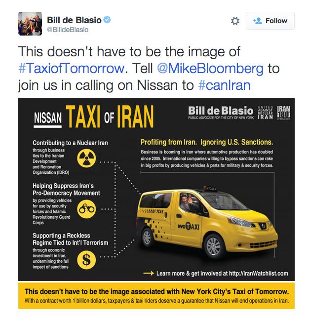 Bill de Blasio Tweets Ahmadinejad in a Cab