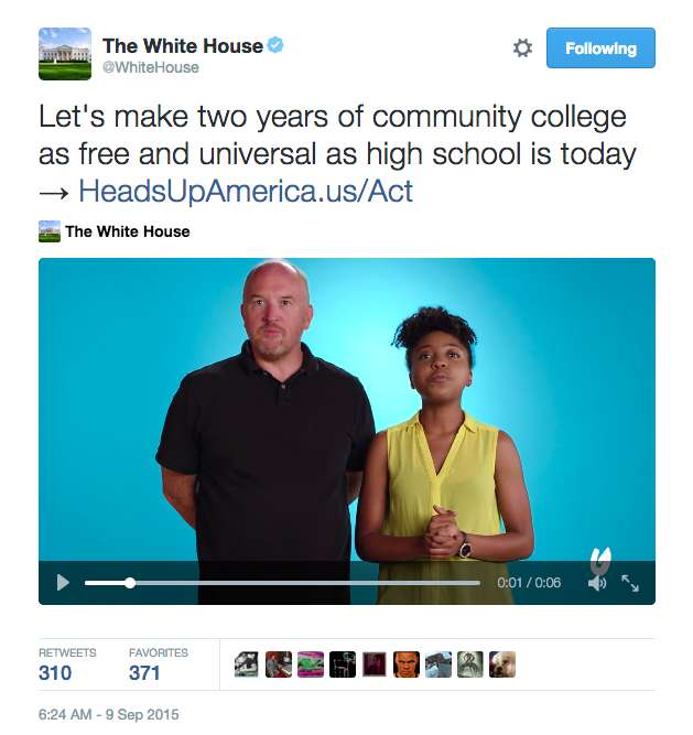 CK for CC|||Tweet from the White House / HeadsUpAmerica.us