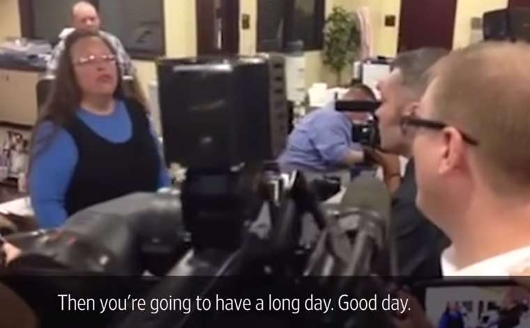 Kim Davis, on the left, is about to have a long day herself.