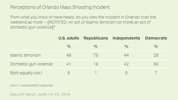 Poll Shows the Partisan Gulf in Views of Orlando Attack's