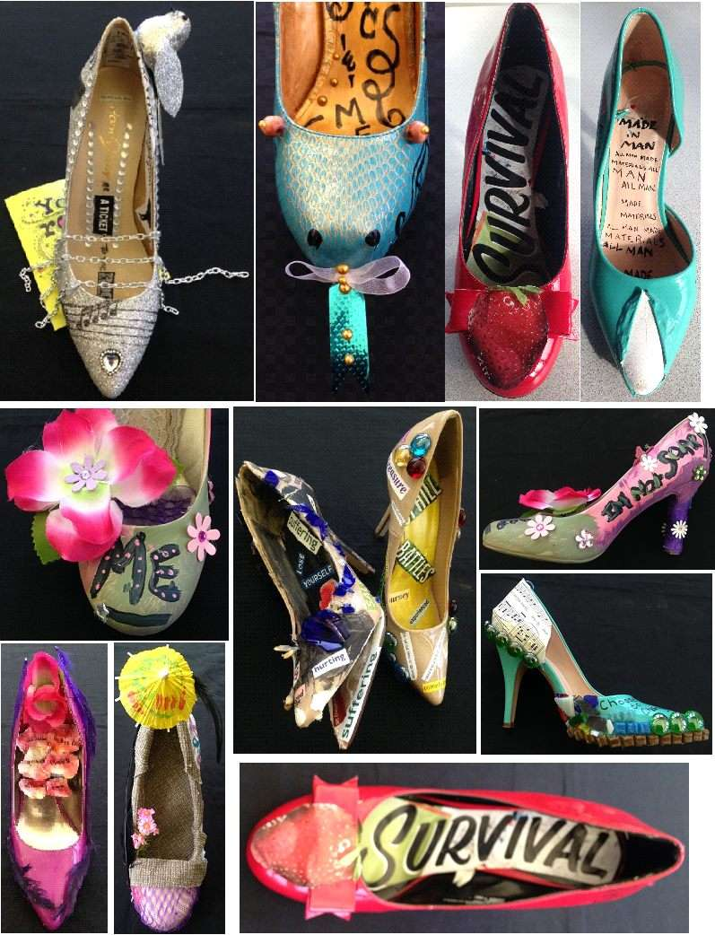 Organization for Prostitution Survivors ran a workshop in March where women were asked to paint shoes in a way that expressed what self care meant to them