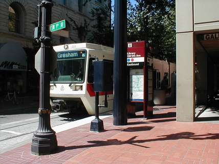 MAX blue line in downtown Portland