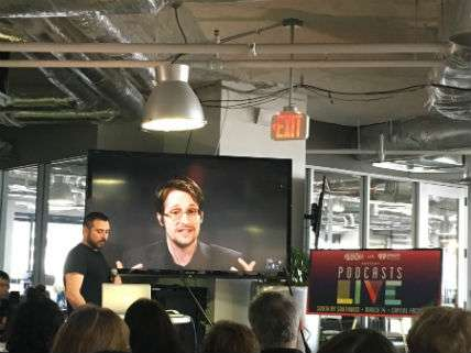 Scahill interviews Snowden at SXSW 2017.