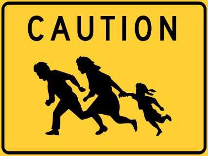 Caution Immigration Sign