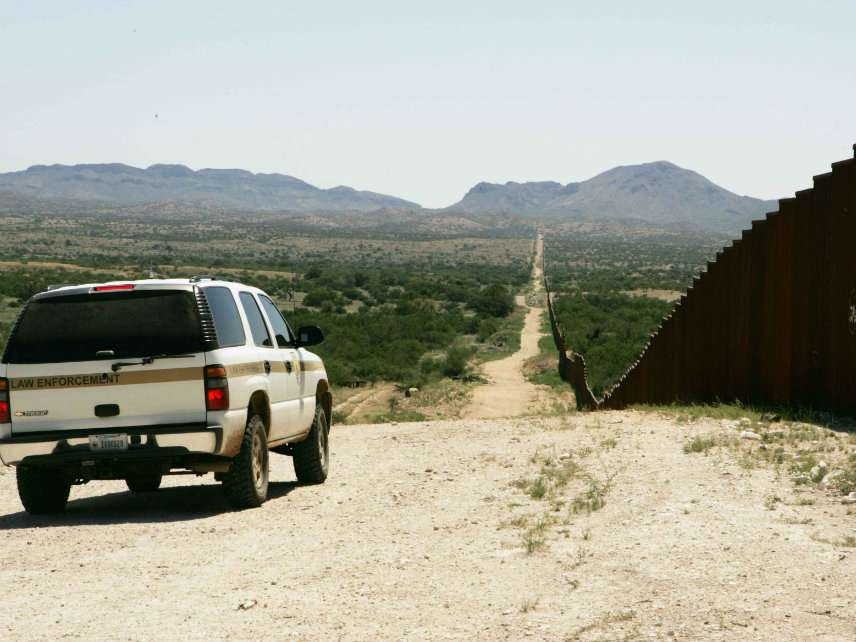 Border patrol car patrolling on border