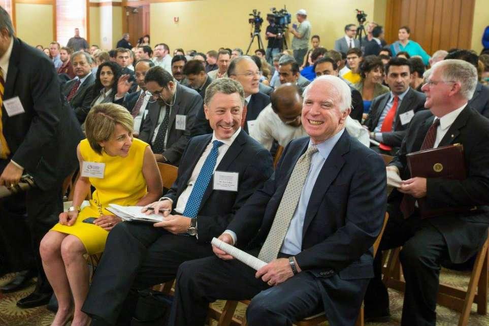 Kurt Volker (center) with Liz Schrayer and Sen. John McCain