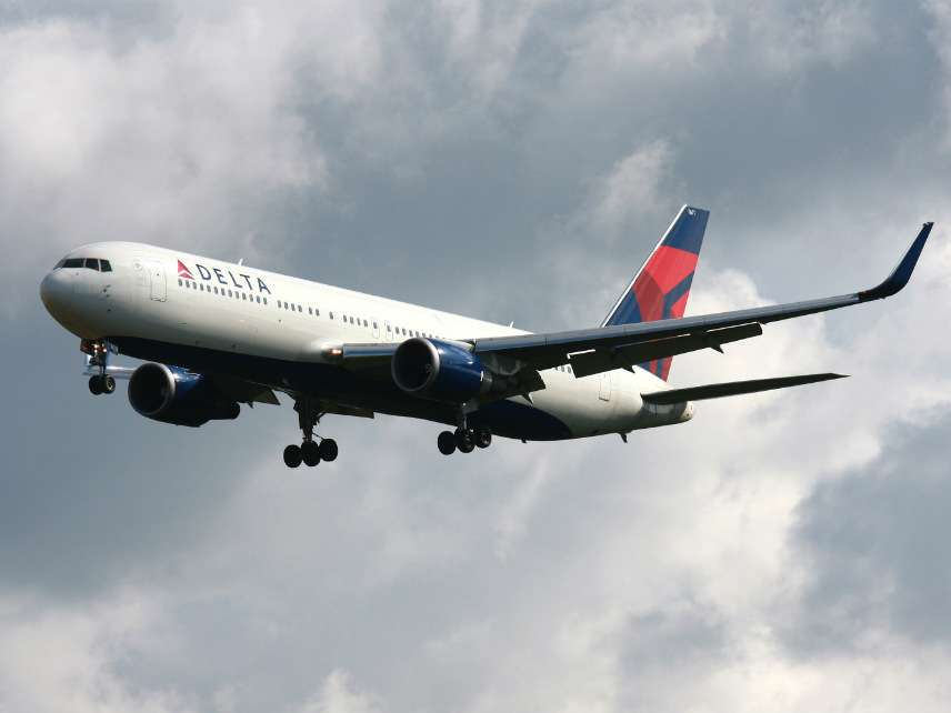 A Boeing 767-300 of Delta Air Lines landing at Frankfurt Airport