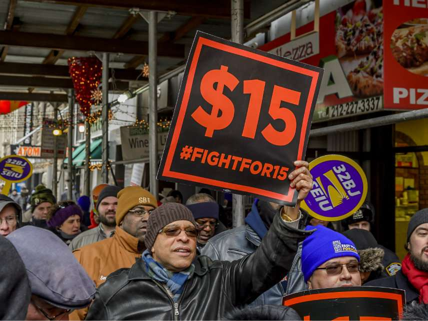 Minimum wage protesters in New York City