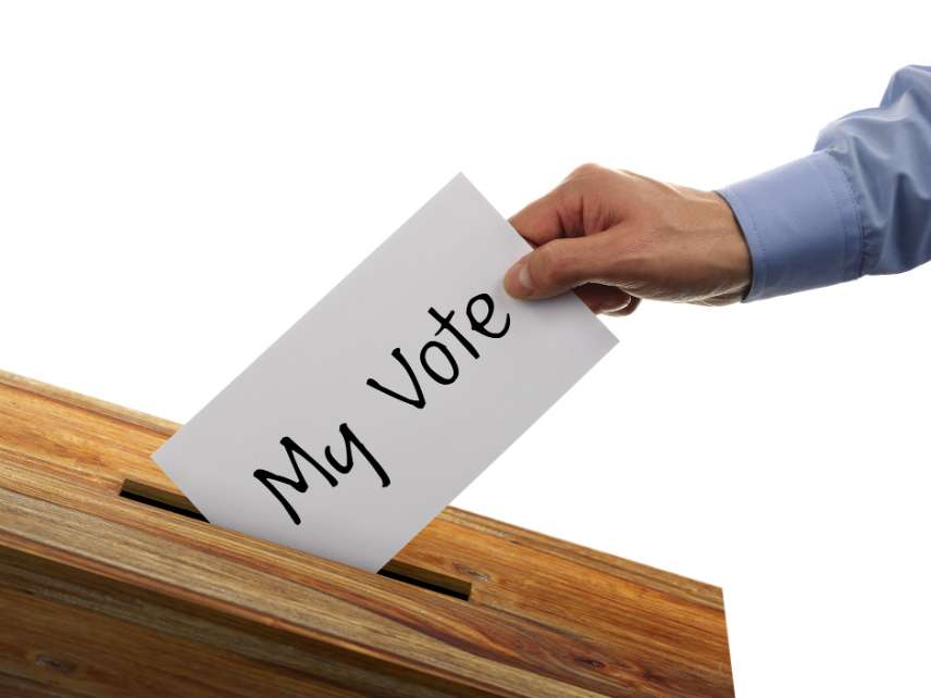 A man voting