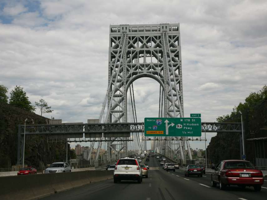 George Washington bridge, approach from the New Jersey side.
