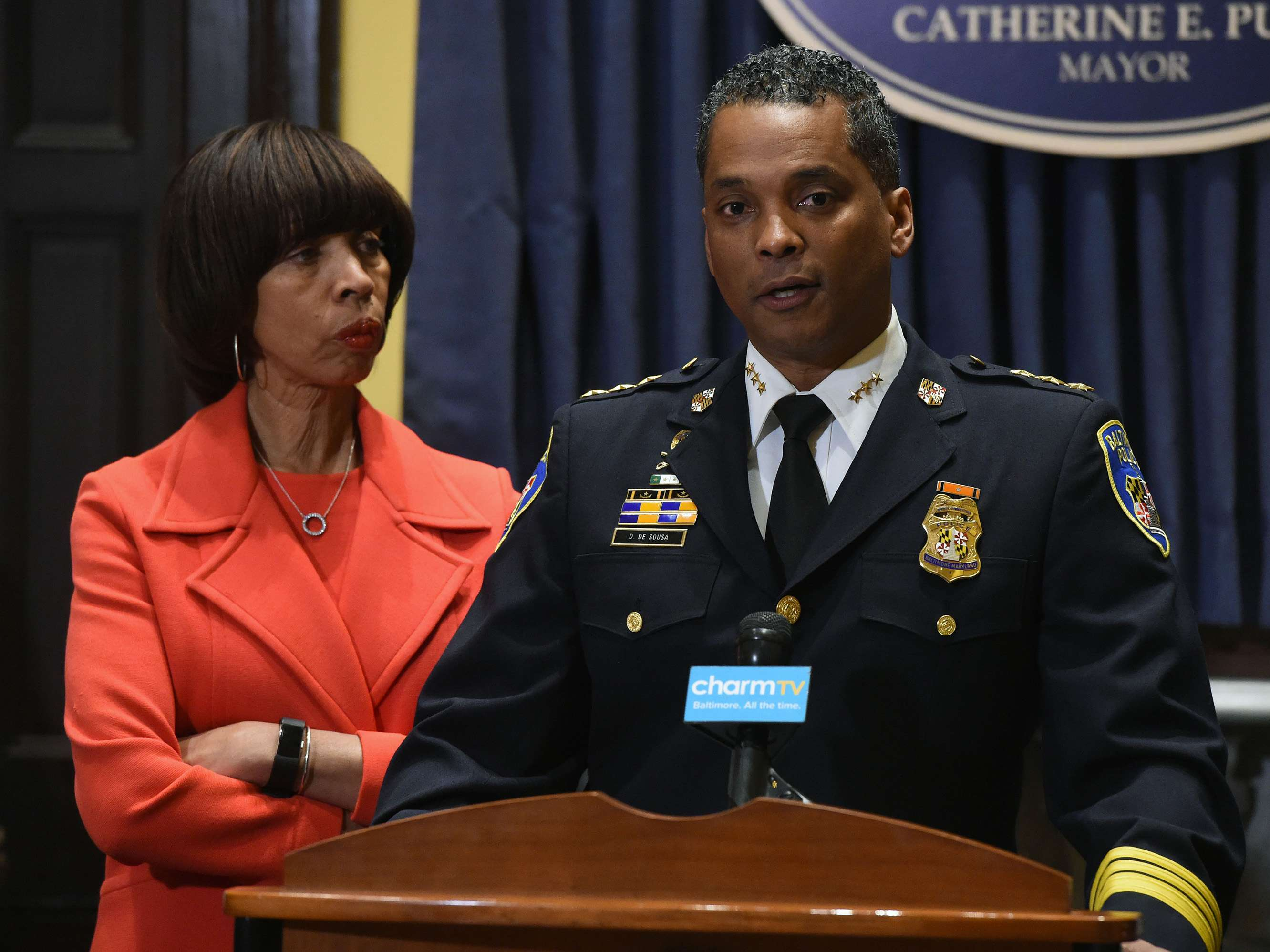 Baltimore Mayor Catherine Pugh with new Baltimore Police Department Commissioner Darryl DeSousa