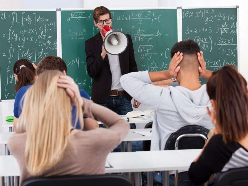 Teacher with megaphone