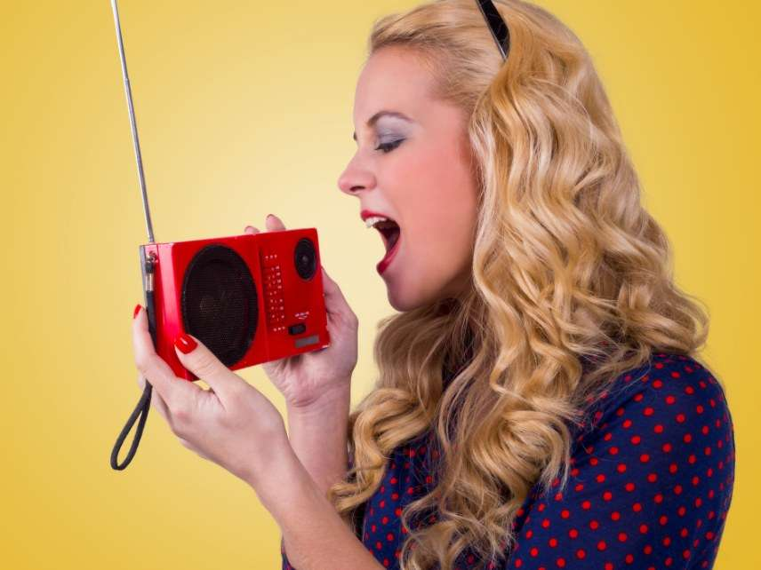 Woman with a radio
