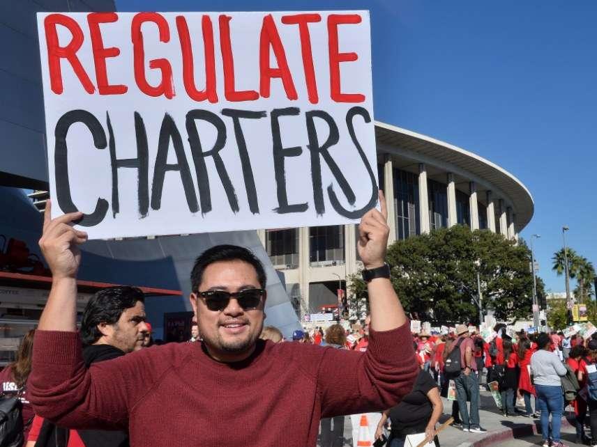 Charter school protestor