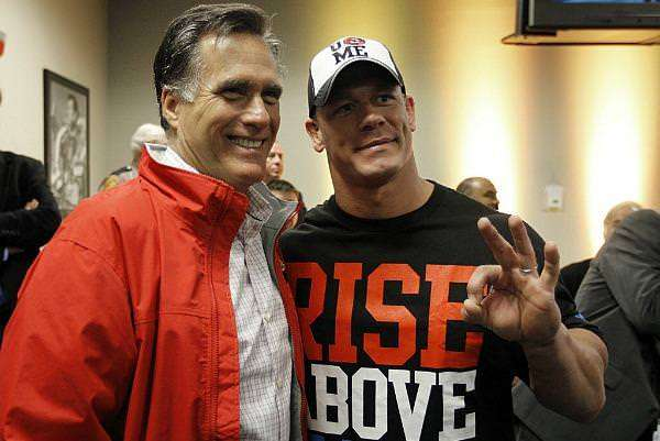 "Mitt Romney and WWE superstar John Cena talk about Massachusetts, Jorts, and the former governor's days of wrestling under the alias ""Jephthah Strongbow."""