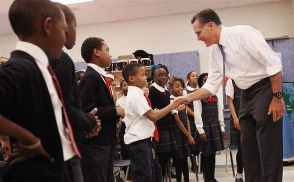 Romney and schoolkids