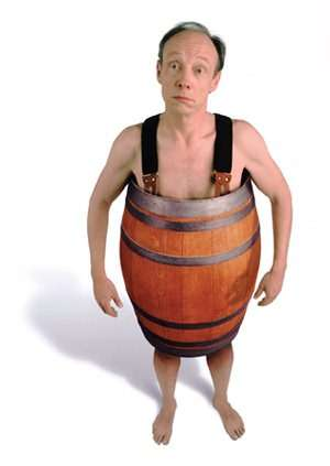 Man in barrel