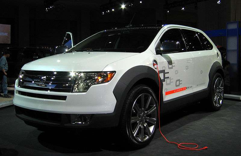 A plug in hybrid at an auto show