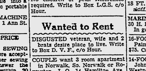 "A want ad for a ""disgusted veteran"""