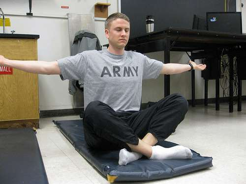 Army soldier doing yoga