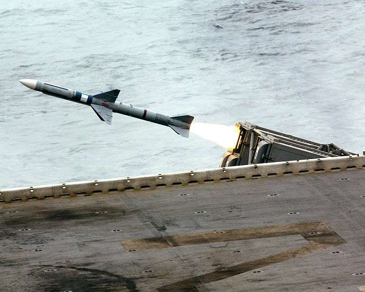 Sea Sparrow missile launching