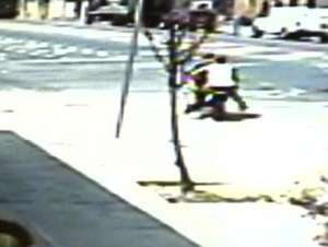 Surveillance image of a deadly police chase in the Bronx (credit: CBS 2)