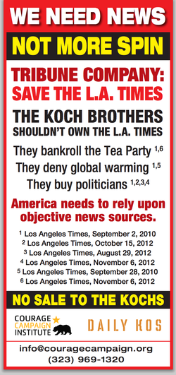 No more spin!, says, uh, The Daily Kos. ||| No seriously, this ad, or one like it, reportedly ran in the L.A. Times itself.