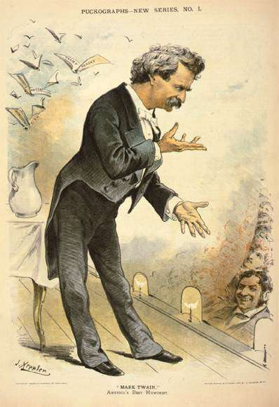 "Credit: Keppler, Joseph Ferdinand, artist.'""Mark Twain,"" America's best humorist.' Keppler & Schwarzmann, 1885. Prints and Photographs Division, Library of Congress."