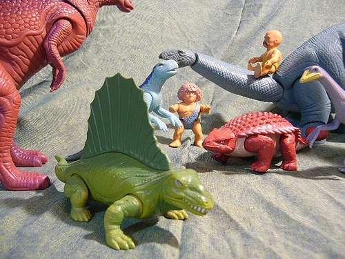 Dinosaur and caveman