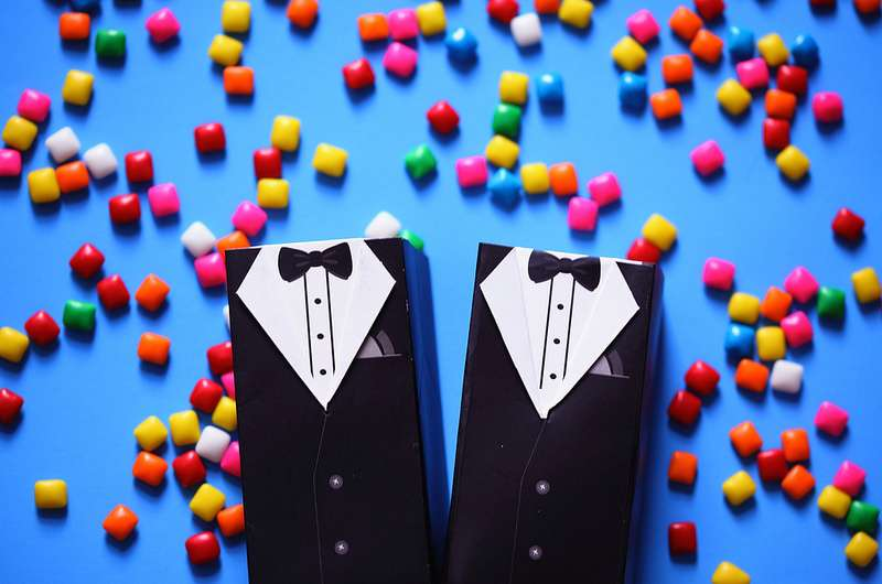 Do people throw tiny pieces of gum instead of rice or confetti at gay weddings?