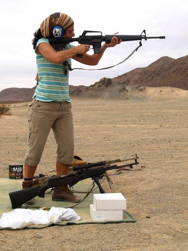 Woman shooting AR-15