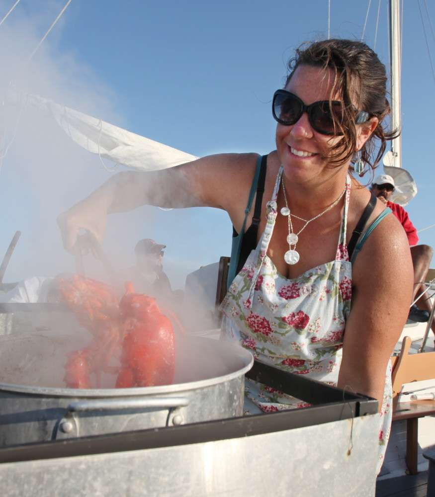 Not lobster girl. Lobster woman.