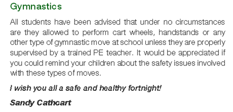 Deputy Principal Sandy Cathcart published this message on the ban in a recent school newsletter.