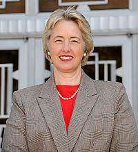 Annise Parker sees the light. Of the television cameras.