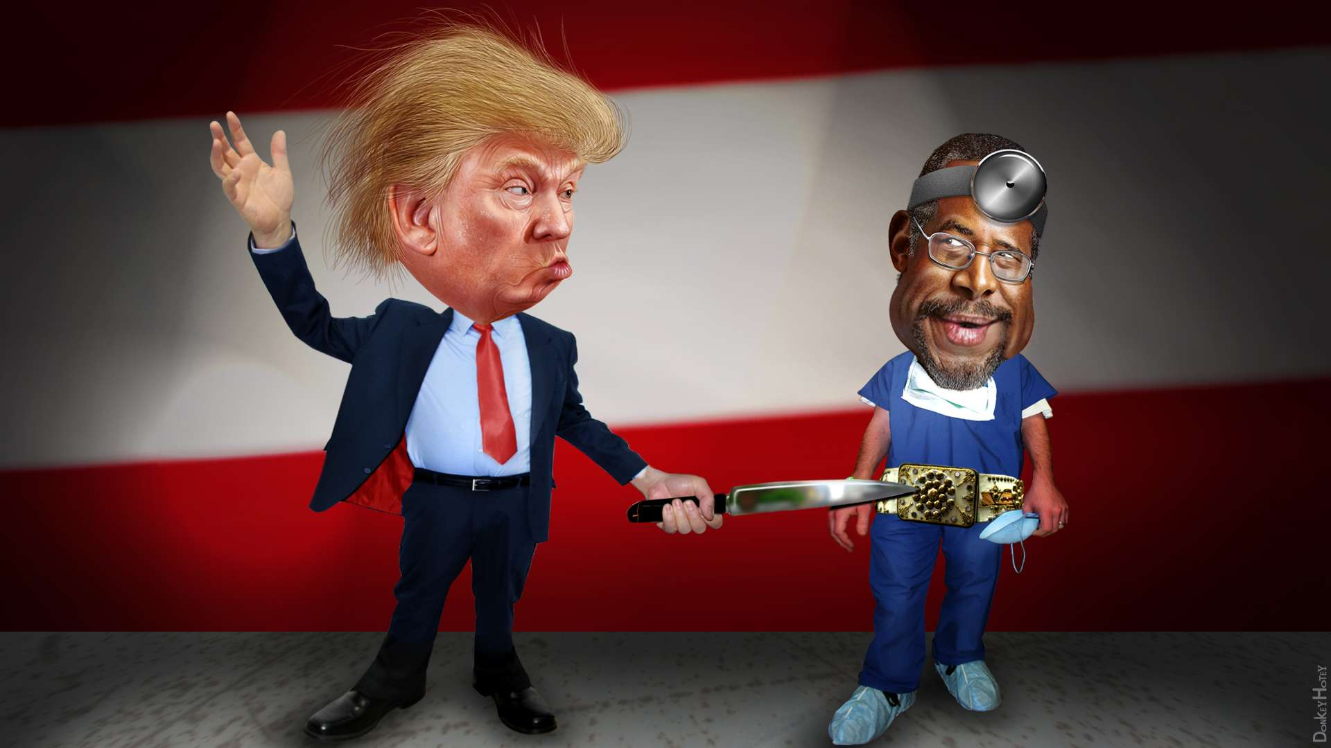 Donald Trump Stabbing Ben Carson in the Belt Buckle