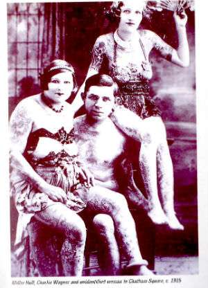 Bowery tattoo legend Charlie Wagner, a student of Samuel F. O'Reilly's, circa 1915.