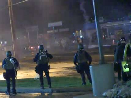 Ferguson, Saturday night, riot police and tear gas