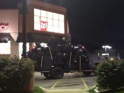 SWAT tank in front of Walgreeens in Ferguson